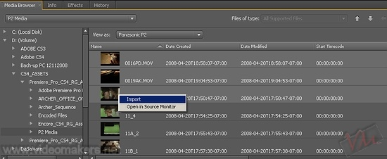 [Adobe Premiere Pro CS4] Finestra Media Browser