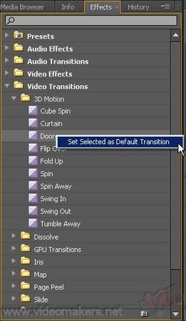 [Adobe Premiere Pro CS4] Applicare una transizione di default all'intera timeline