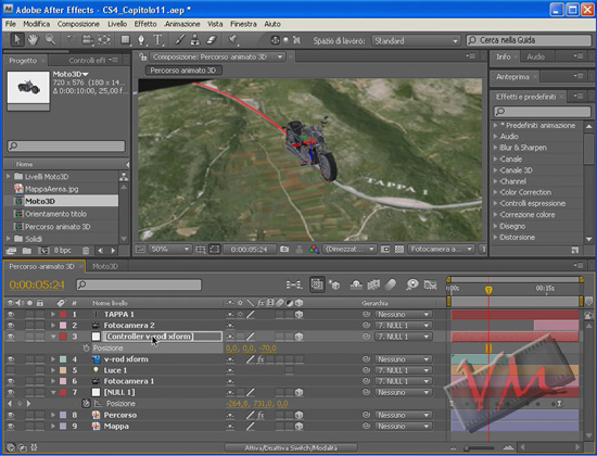 [Adobe After Effects CS4-CS5] Percorso su cartina con moto in 3D (videotutorial)
