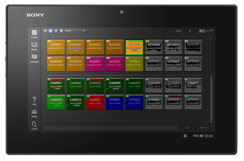 GUI IP Live System Manager Su Tablet