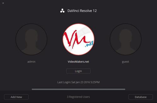 DaVinci Resolve 12 - Login Multi-User