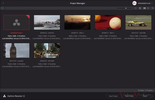 DaVinci Resolve 12 - Project Manager