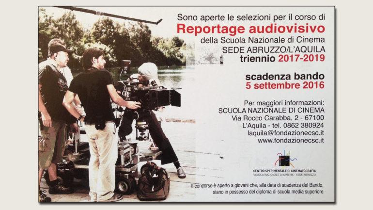 """Scuola di Cinema Abruzzo, """"Reportage Audiovisivo"""":  A concorso 12 posti per aspiranti filmmaker"""