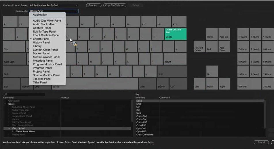 Adobe Premiere Pro CC 2016 - Scelte rapide da tastiera