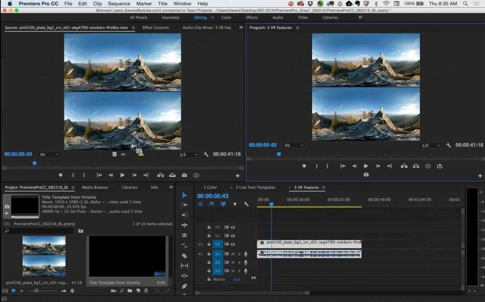 Adobe Premiere Pro CC 2016 - Editing VR (360°)