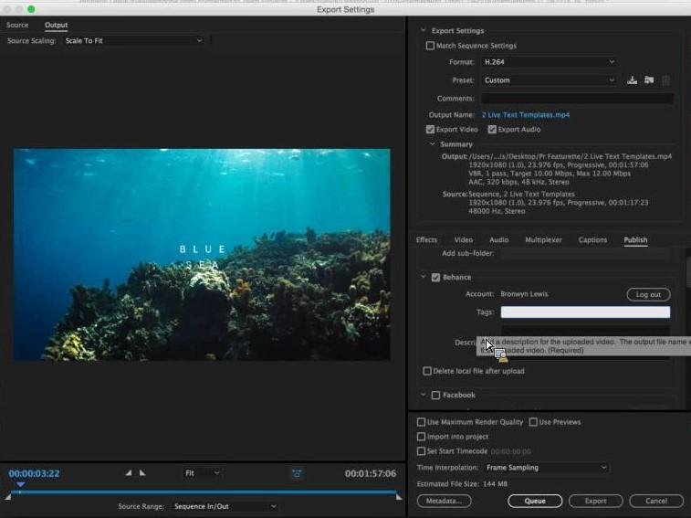 Adobe Premiere Pro CC 2016 - Pubblicazione su Behance