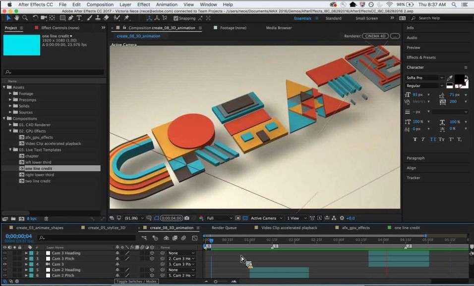 Adobe After Effects CC 2016 - Nuovo motore 3D
