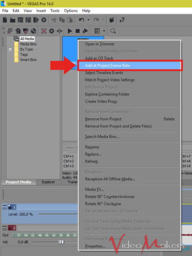 "MAGIX VEGAS Pro 14 - Funzione ""Add At Project Frame Rate"""