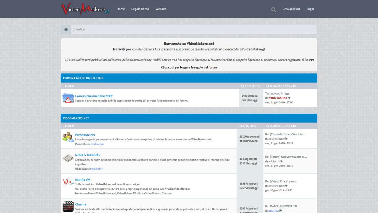 Online il Nuovo Forum di VideoMakers.net